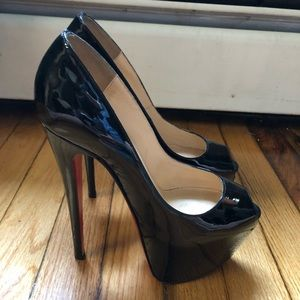 Black peep toe Christian Louboutins